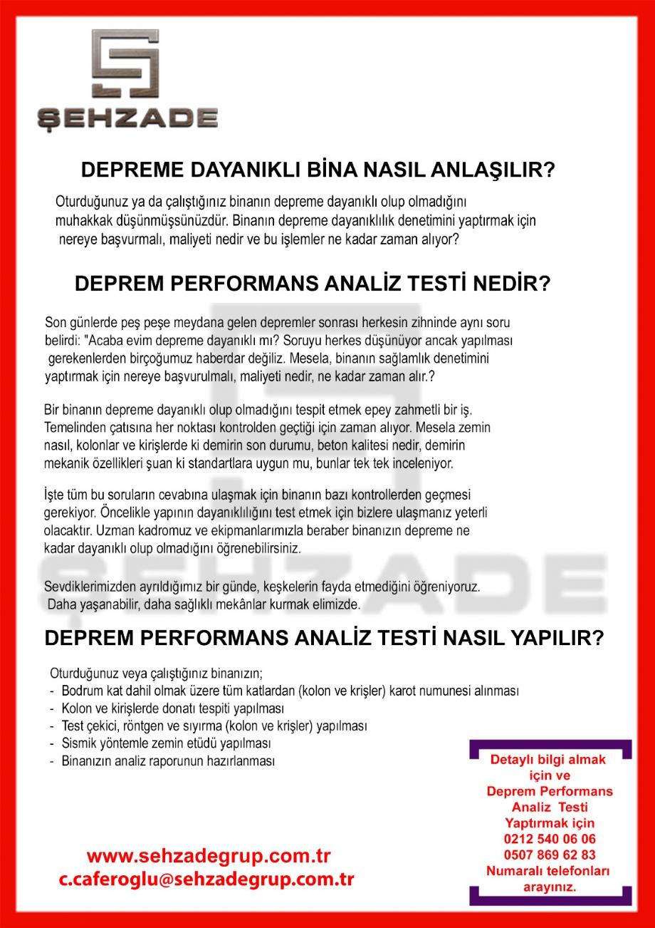 BİNA PERFORMANS ANALİZİ - Şehzade Grup, Şehzade Grup Yapı Denetim